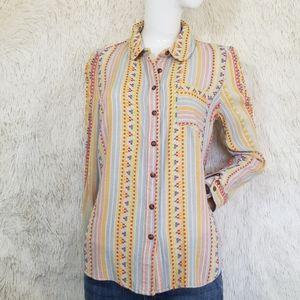 ANTHROPOLOGIE button down Aztek western top blouse